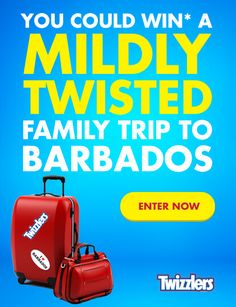 Twizzlers Contest Enter to win 1 of 3 Family Trips To Barbados. There are also 48 weekly prizes FREE candy, t-shirts, headphones, bluetooth speaker, and more.