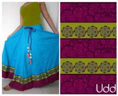 blue skirt with lime and pink floral borders