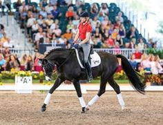 """Credit: SusanJStickle.com Olympian and """"I"""" judge Hilda Gurney believes stretching—in moderation—is a really good exercise for developing suppleness in the horse's back. In this photo, Germany's Ingrid Klimke illustrates beautiful bend, suppleness and engagement on the Hanoverian stallionDoctor Wendell."""