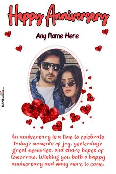 Cute Hearts Anniversary Wish With Name and Photo Frame Online. Say Happy Anniversary by sending Online gift of a beautiful wish by adding a lovely photo of the couple. Wish them with luck and happiness. Happy Marriage Anniversary Cake, Happy Anniversary Photos, Happy Wedding Anniversary Wishes, Anniversary Greetings, Romantic Anniversary, Anniversary Frames, Happy Birthday Man, Birthday Wishes, New Month Quotes