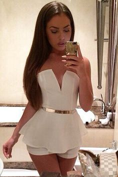 Cheap Sexy Off The Shoulder Sleeveless Solid White One-piece Regular Jumpsuit on Luulla