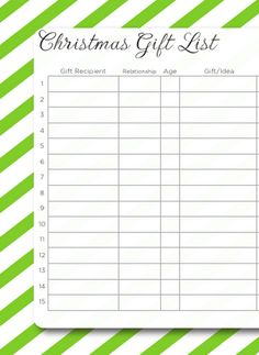 3 FREE printable Christmas Gift Lists to help you organize your gift giving!
