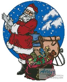 Santa with Sleigh Cross Stitch Pattern http://www.artecyshop.com/index.php?main_page=product_info&cPath=41_42&products_id=768