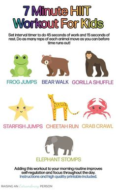 This fun animal themed workout will get your kids moving, and provide a powerful dose of sensory input. Add this to your morning routine to improve self-regulation , focus, and learning throughout the day. Or try it afterschool, too! for kids Gross Motor Activities, Sensory Activities, Preschool Activities, Physical Activities, Physical Education, Health Education, Health Activities, Animal Activities, Fitness Activities