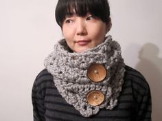 Chunky Scarf in Medium Gray with Coconuts Buttons  by tomiffy, $59.00