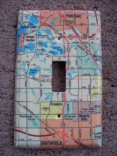 Southfield Keego Harbor Pontiac #Michigan Road Map #LightSwitch Plate $10.00