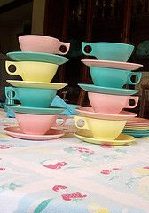 leaning tower o' cups (Atomic Flamingo) Tags: vintage turquoise pastel 50s dishes melmac melamine