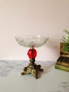 HOLLYWOOD REGENCY PEDESTAL Dish Red Lucite by AnnmarieFamilyTree