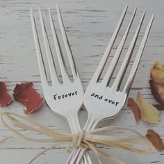 Wedding cake serving forks - Forever and ever - hand stamped - silver - rustic antique or vintage - personalized anniversary - dinner forks