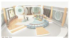 Talk-Variety Show TV Sets on Behance - Armchair Ideas Tv Set Design, Stage Set Design, Theatre Design, Stand Design, Event Design, Plateau Tv, Modern Tv Units, Exhibition Booth Design, Exhibit Design