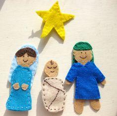 Cute nativity finger puppets from herthreadedneedle on etsy