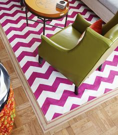 Living in a Nutshell Bordering on Fabulous   http://livinginanutshell.com/blog/bordering-on-fabulous/   carpet tape upholstery webbing to border rug