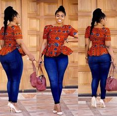 Ladies Ankara Tops For Jeans, ankara top styles with Jean shorts, ankara too with Jean trousers, perfect Ankara tops design for ladies, hot Ankara styles for jeans to match Ankara Tops, Ankara Styles, African Inspired Fashion, African Print Fashion, Africa Fashion, African Print Dresses, African Fashion Dresses, African Prints, Ghanaian Fashion