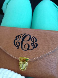 Monogrammed leather envelope purse. Leather clutch purse.