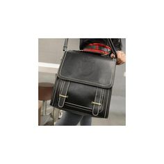 Convertible Faux-Leather Stitched Backpack (€28) ❤ liked on Polyvore