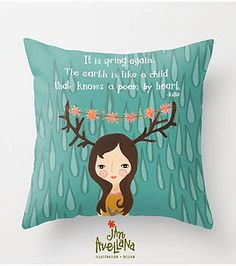 by Jan Avellana #kindredArtCollective #Pillow #spring #rain #illustration #decor #quote #girl