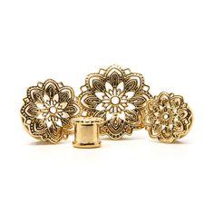Gold Mandala Plug | UK Custom Plugs - Ear Gauges, Flesh Tunnels for Stretched Ears