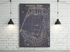 Vintage Boston Red Sox Fenway Park Blueprint On Photo Paper, Matte Paper Or…