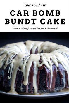 A rich chocolate stout cake with whiskey ganache and Baileys cream glaze is a fun take on the Car Bomb cocktail.  St Patrick's Day | holiday recipes | party food | cake recipes | chocolate recipes | Car Bomb | Irish food | Make ahead