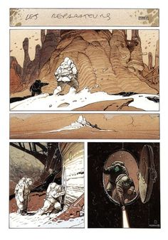 """Page from """"Le Monde D'Edena, Tome Les Réparateurs"""" by Moebius (Jean Giraud) Jean Giraud, Art And Illustration, Illustrations, Comic Book Artists, Comic Artist, Comic Books Art, Sci Fi Kunst, Comic Kunst, Fantasy Kunst"""