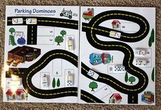 """Parking Dominoes"" Busy bag - this bag focuses on addition. The bag comes with 11 dominoes and two laminated pages as shown. Kids add the number of dots on the dominoe ""cars"" and drive them and park them in the correct parking spot (each parking spot has a number that corresponds with the sum on the dominoes) $6.00  Visit my Facebook page to see more of my busy bags at http://www.facebook.com/buybusybags"