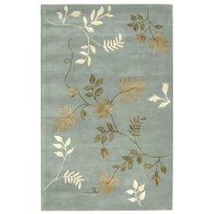 5' x8' Art Deco rug features a modern design with a light blue background.Transitional floor rug displays ivory, gold, and beige in a vine design. Hand-tufted rug is constructed from a natural New Zealand wool pile