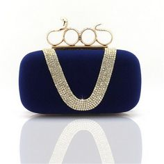 2016 Four Fingers Rings Clutch Bag Lady's Clutches Skull Purse diamond Evening Bags With Shoulder Chain Punk Wallet WY17
