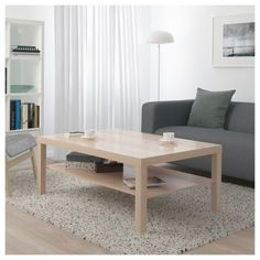 IKEA - LACK, Coffee table, white stained oak effect, Separate shelf for magazines, etc. helps you keep your things organised and the table top clear. Laquer Une Table, Range Magazine, Design Tradicional, Ikea Lack Coffee Table, Apartment Living, Living Room, Muebles Living, Ikea Family, White Stain