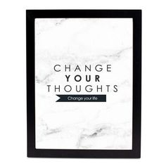 SafiyaJamila Change Your Thoughts  Framed Textual Art Size: 10'' H x 8'' W x 1'' D, Frame Color: Black