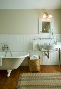 John B Murray Architect - bathrooms - 2 leg, white, porcelain, washstand, beige, walls, beadboard, walls, backsplash, clawfoot, tub, white, inset, medicine, cabinet, clawfoot tub, calwfoot bathtub, clawfoot tub bathroom, clawfoot tub bathroom design, white clawfoot tub, white clawfoot bathtub,