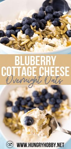 These blueberry cottage cheese overnight oats are a super filling high protein breakfast topped with sweet honey, blueberries, and crunchy pumpkin seeds. Low Calorie Breakfast, High Protein Breakfast, Sweet Breakfast, Breakfast Dishes, Best Brunch Recipes, Delicious Breakfast Recipes, Roast Pumpkin, Oatmeal Recipes, Cottage Cheese