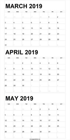 March April May 2019 Calendar Template March April May