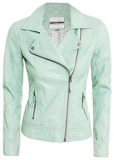 Mint, leather blazer. Oh my gosh I would be so hipster badass in this with black skinny pants and combat books and some big shades.