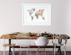 Colorful World Map Art Watercolor Painting  16x20 by ElfShoppe, $90.00