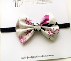 Baby/Childs Floral Fabric Hair Bow Headband Black by JandGhandmade
