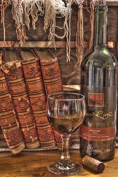 Books & wine...perfect combination.