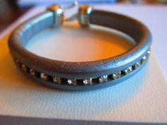 Silver Sparkle Regaliz Leather Bracelet by Mycatdesigns on Etsy