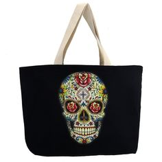 Large Sturdy Black Canvas Tote w/ Colorful Day of the Dead Skull Made in USA ** Be sure to check out this awesome product.