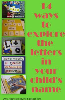 learning letters- 14 fun and hands on activities for helping kids learn the letters in his/her name