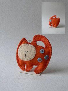 Description: Cute Litle Orange Cat - Chibi toy  Handmade from Felt  Keyring
