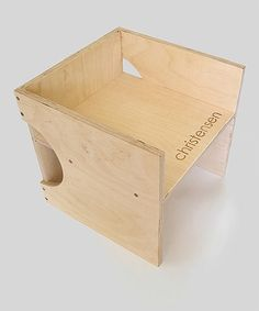 Birch Plywood Cube Chair by Little Sapling Toys/ turn it one way for older infants and young toddlers-flip it the other way for bigger kids, genius