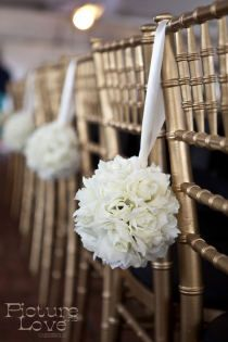 Ceremony Reception On Every Other Pew End Bridal Party Chairs