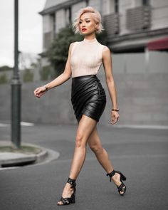 Micah Gianneli Leather   Micah Gianneli Leather Skirt Street Style • WMN ISSUE