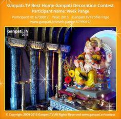 Vivek Pange Home Ganpati 2015 Decoration Pictures, Decorating With Pictures, Ganpati Picture, Ganpati Festival, Festival Decorations, Picture Video, Tv, Painting, Television Set