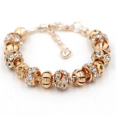 New Arrival Free Shipping Romantic 18K Gold Plated Bead Charm Bracelet With Crystal Women DIY Bracelet