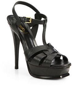 Dark Green Leather Heeled Sandals by Saint Laurent. Buy for $995 from Saks Fifth Avenue