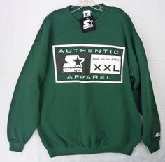 NOS NWT Vintage 90s Starter Brand Logo Star Apparel Green Sweatshirt Shirt  XL 51db5401f