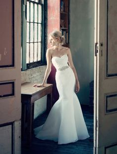 Bridal Gowns: Michelle Roth Mermaid Wedding Dress with Sweetheart Neckline and Natural Waist Waistline