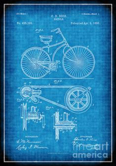 Blueprint Art of Patent Bicycle 1890 Technical Drawings Engineering Drawings Patent Blue Print Art Item 0025 Blueprint Art, Retro Bicycle, Patent Drawing, Patent Prints, Artwork Prints, Fine Art Paper, Bike, Etsy, Poster