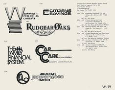 W-19  Collection of vintage logos from a mid-70's edition of the book World of Logotypes.